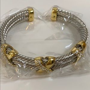Juvell 18K Two Tone Plated Twisted Cable Bracelet